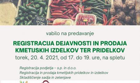 Predavanje: Registracija dejavnosti in prodaja kmetijskih izdelkov ter pridelkov